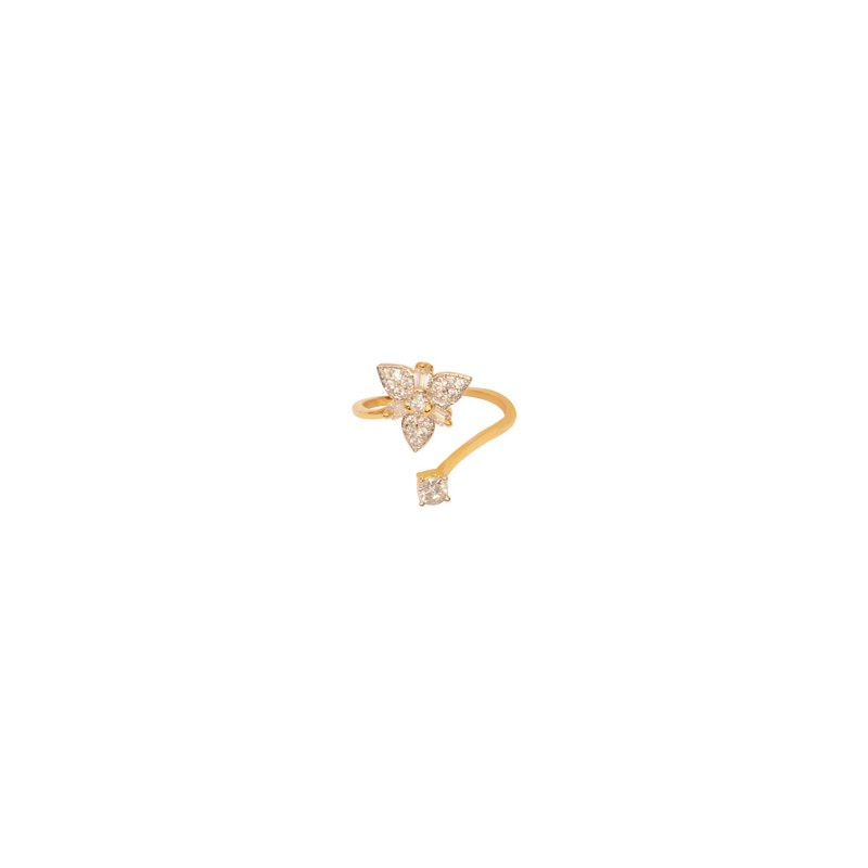 Designer Gold plated AD Studded Ring For Women In Flower Shape