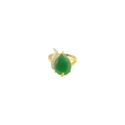 Gold Plated AD Studded Ring In Green Color