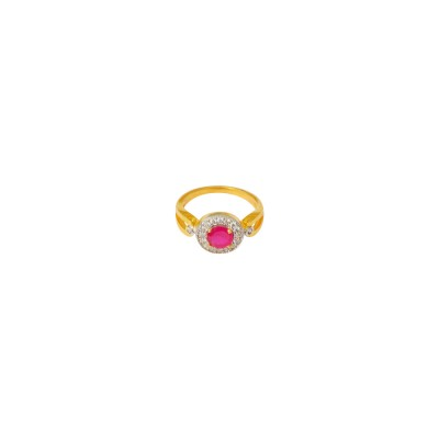 Designer Gold Plated AD Studded  Pink Ring For Women