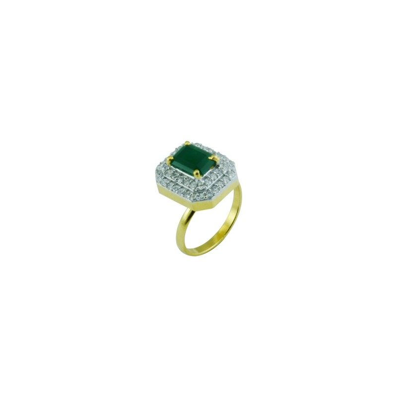 Gold Plated Ring With Studded Green Stone