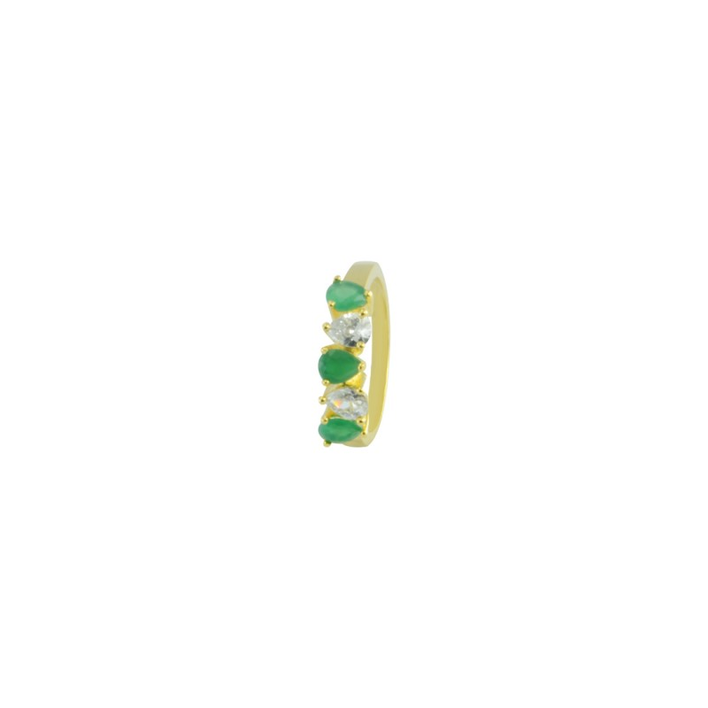 Gold Plated Ring With Green And White Stone