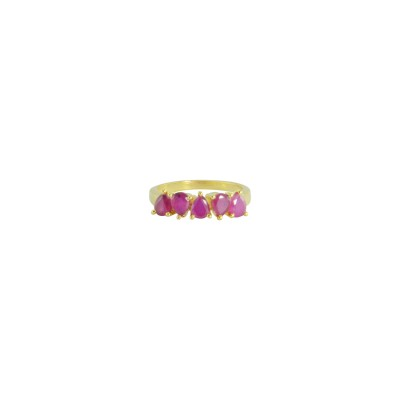 Gold Plated Ring With Pink Stones