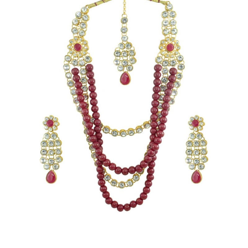 Designer Necklace Set With Earrings For Women In Maroon Color