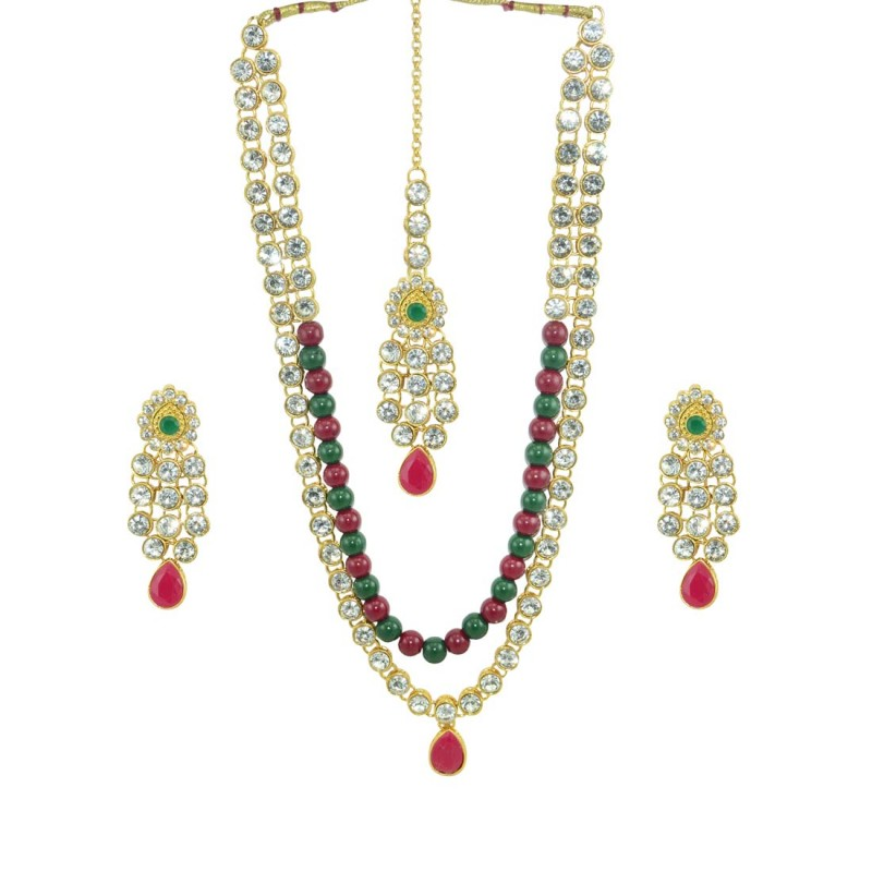 Multicolor Necklace, Earring & Maang Tikka Set For Women