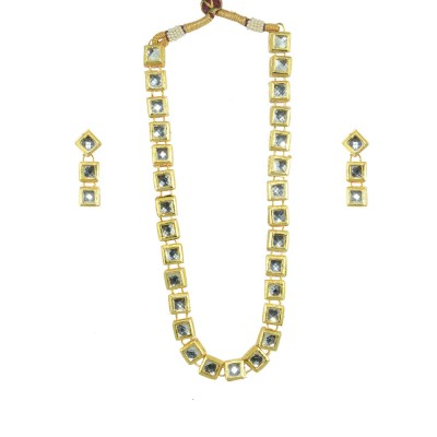 Designer Necklace Set With Golden Kundan