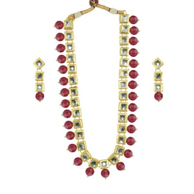 Designer Necklace Set With Golden Kundan And Maroon Pearls