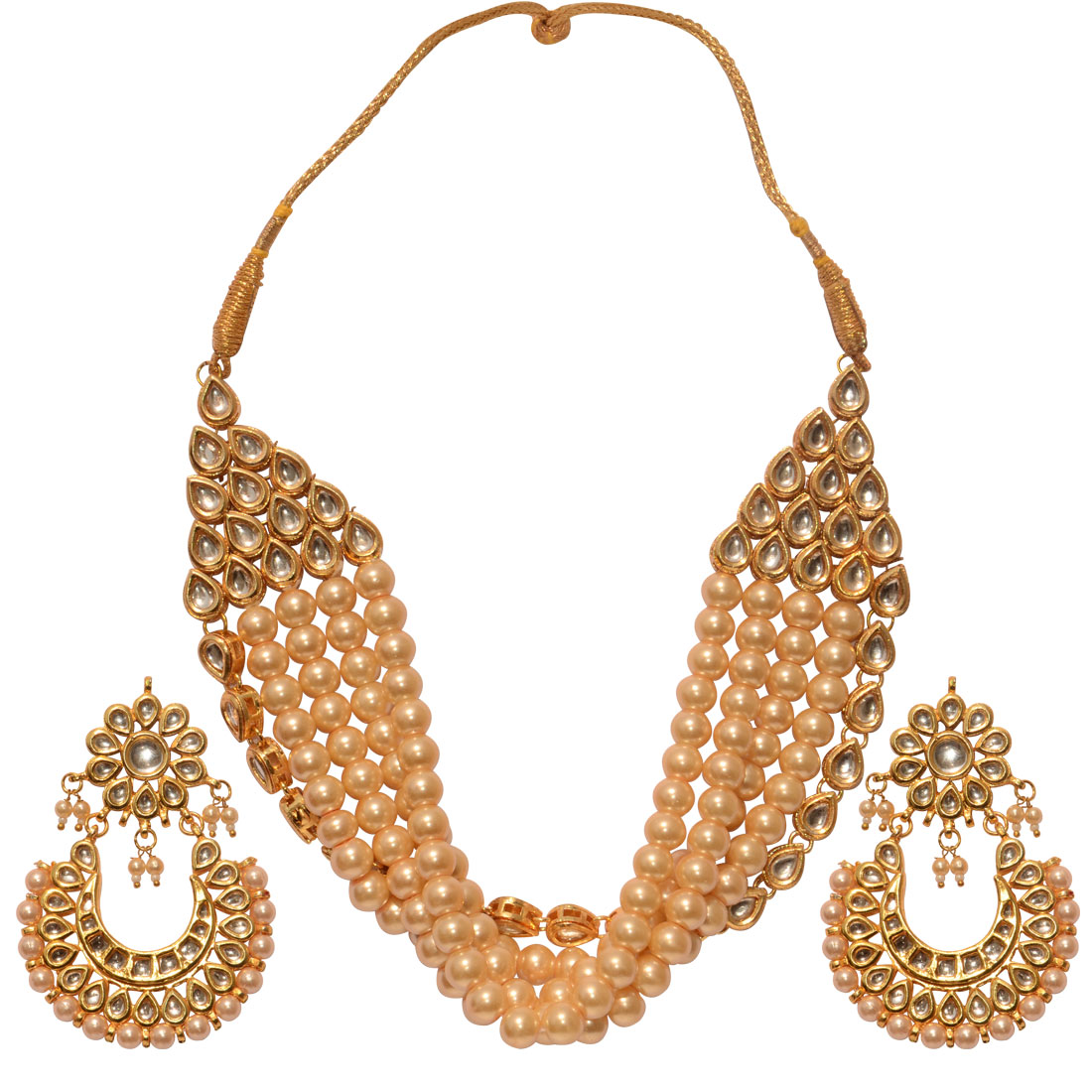 Beautiful Pearl Necklace Set With Earrings