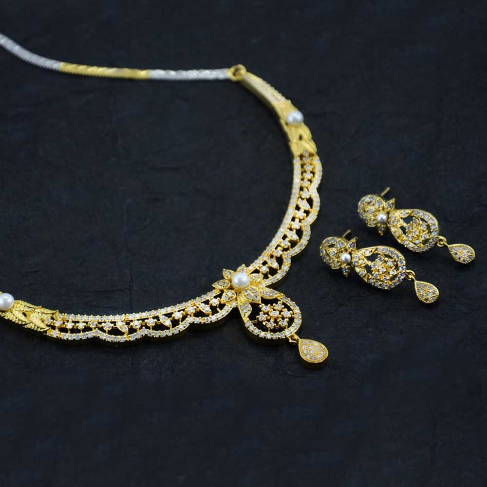 Gold Plated American Diamond Stone Necklace Set